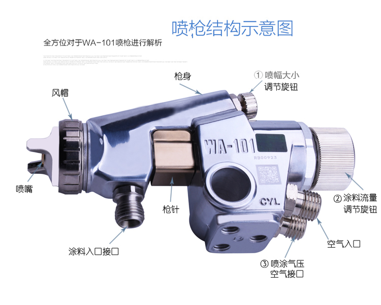 """Japonijoje pagamintas """"WA-101 Origin Gun"""" dažų oro purškimo - Elektriniai įrankiai - Nuotrauka 6"""
