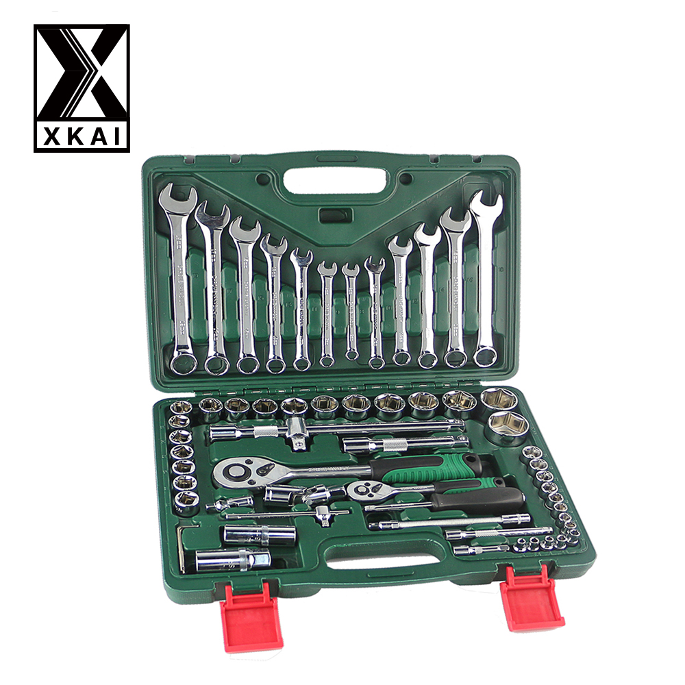 XKAI 61PCS  HIGH QUALITY Spanner Socket Set Car Repair Tool Ratchet Wrench Set Torque Wrench Combination Bit a set of keys 7pcs8 10 12 13 14 17 19mmfixed head the key ratchet combination wrench set auto repair hand tool a set of keys ad2012