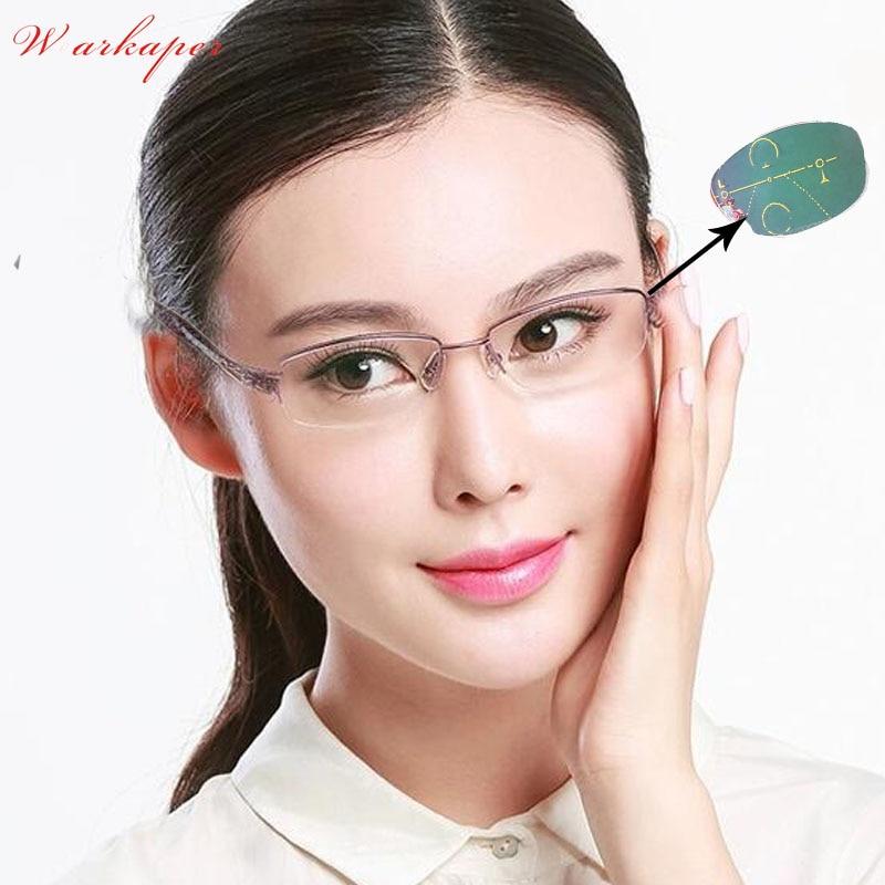 WEARKAPER Anti-UV-reflective Progressive Multifocal glasses Transition Sun Photochromic Reading Glasses Women See Near Far diopt