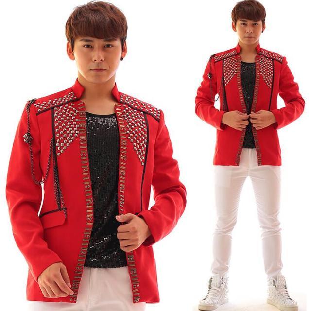 Red rock hombres traje diseños de acrílico diamante traje de la etapa para cantantes hombres chaquetas 2017 ropa de baile estilo de la chaqueta delgada