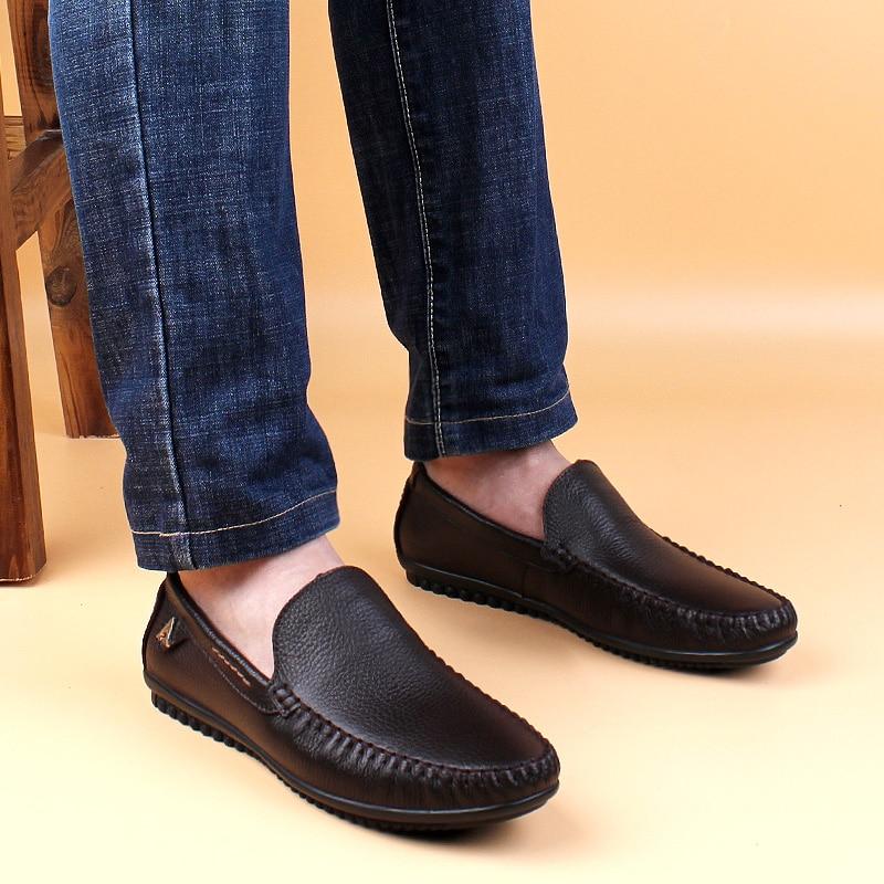 Décontracté en cuir véritable chaussures pour hommes sans lacet conception conduite hommes chaussures plates à la main marque mâle mode bateau mocassins grande taille - 6