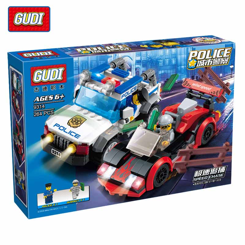 GUDI Speed Police Chase Kids Educational Toys Assembled Fight Inserted Plastic Building Blocks Assembled Toys For Children puzzle toy building blocks assembled fight inserted toys