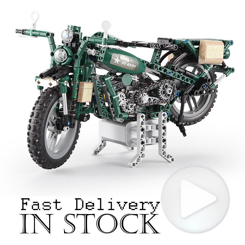 Puissance Fonction Militaire Moto Technique 550 pcs Échelle Modèle avec Moteur Building Block Brique Jouets Pour Enfants compatible legoingly