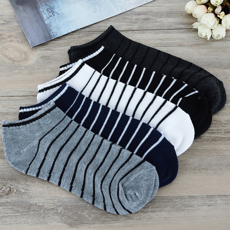 10 Pairs /lot 5 Light Color Breathable Men Summer Short Socks Fashion New Multi Stripe Couple Soft Comfortable Quality Boat Sock