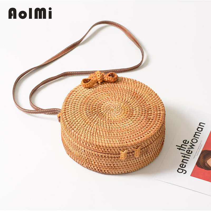 AolMi Summer Beach Bag Woven Round Straw Bag Rattan Crossbody Shoulder Bag for Women 2018 Fashion Messenger Bag bolsos mujer