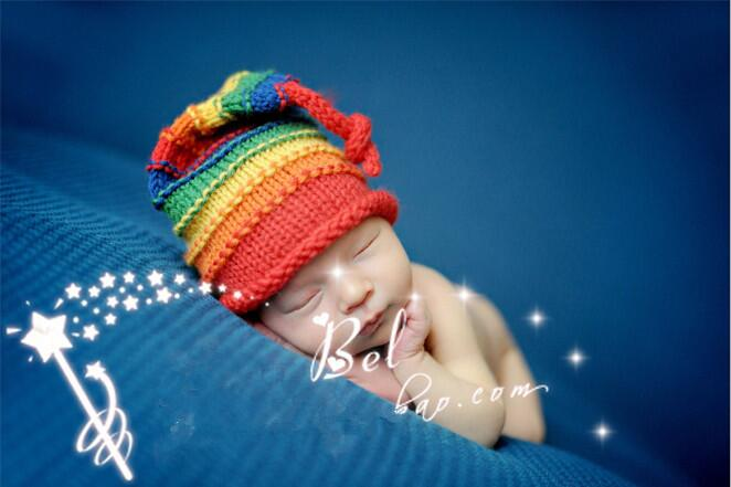 Baby Crochet Lungo Coda Elfo Pixie Pom Pom Cappello Foto Fotografia Puntelli 0-3 mesi