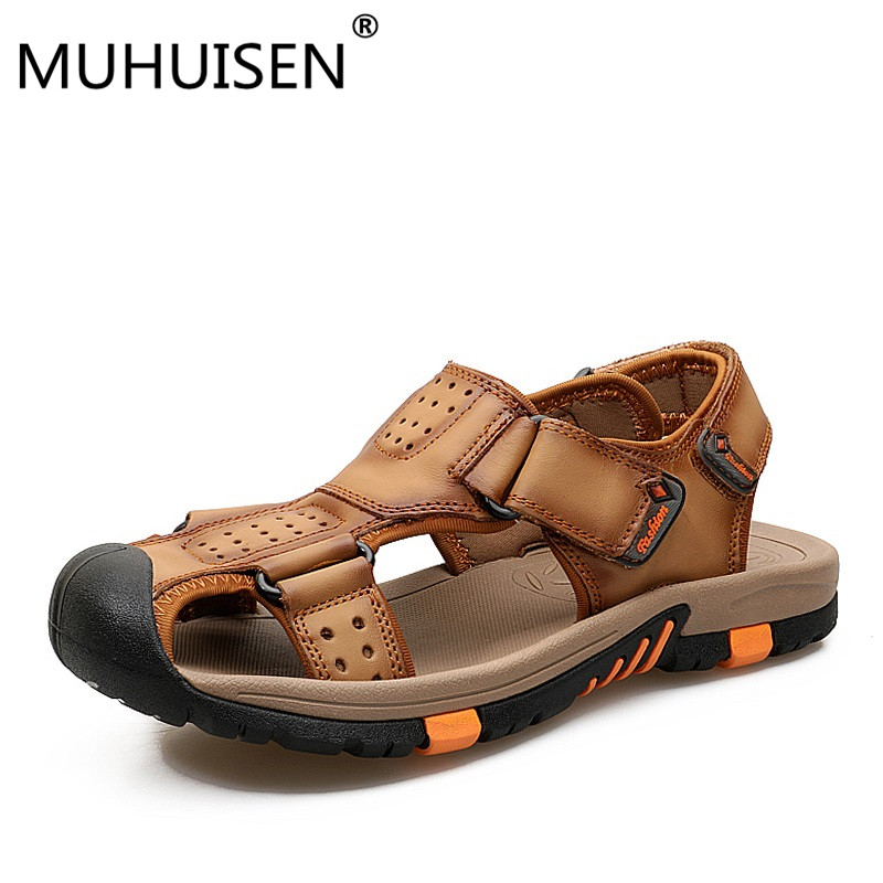 Brand Men Genuine Leather Sandals Fashion Slippers Male Breathable Summer Beach Shoes Sandals Casual Men Shoes Size 38~45