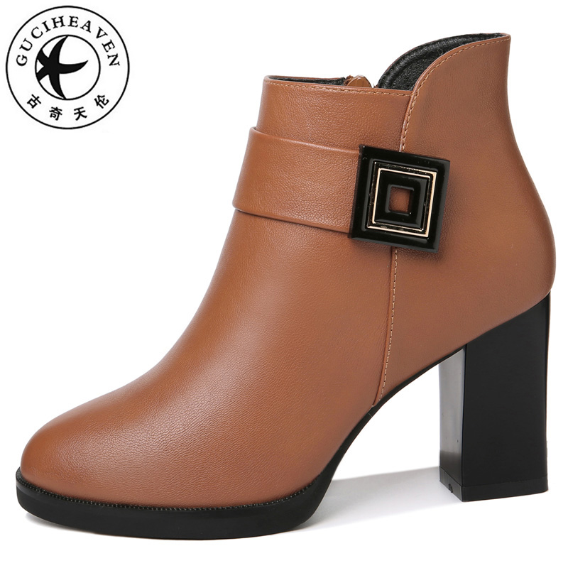 Guciheaven Women Ankle Boots High Heels Pumps Winter Short Plush Keep Warm Business Attire Office Fashion Dress Leather Shoes
