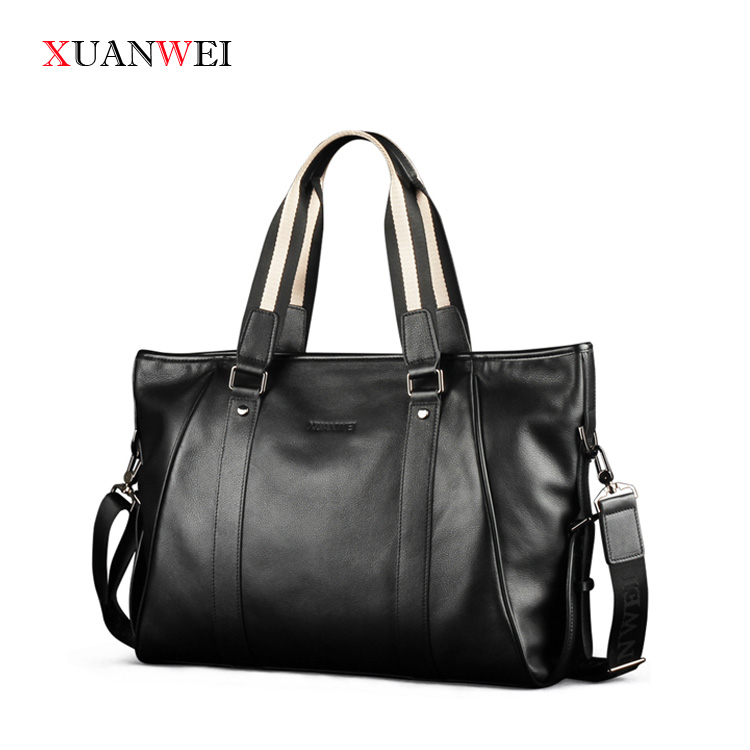 Quality Large Messenger Bags Black/Brown single shoulder bags Full-grain Leather HandBag for business or Leisure (XW9006-L) redfox сумка full size business messenger 1000 черный