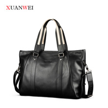Quality Large Messenger Bags Black/Brown single shoulder bags Full-grain Leather HandBag for business or Leisure (XW9006-L)