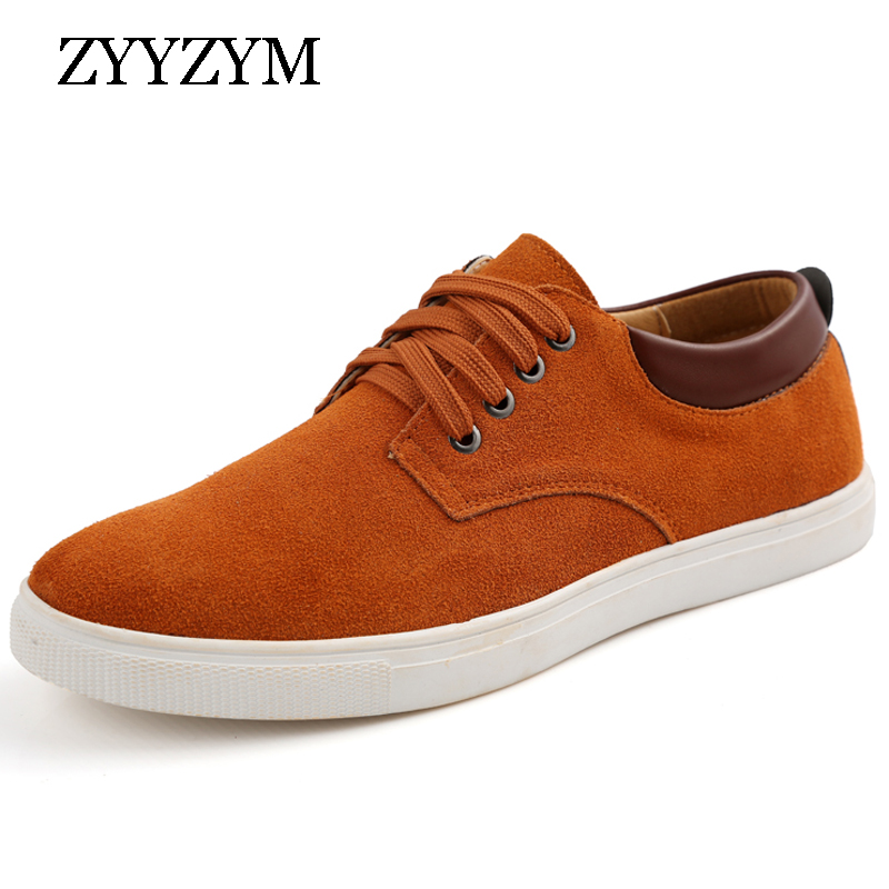 ZYYZYM Promotion Men's Large Size Casual Shoes   Suede     Leather   Lace-up Style Spring/autumn Fashion Flat Shoe For Man Size 38-49