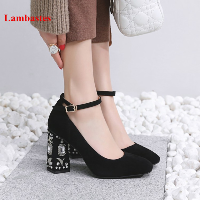 2018 Spring Balck Crystal Embellished Spikle Heel Square Toe Women Mary Janes Pumps Buckle Strap Classic High Heel Suede Pumps women pumps mary janes med square heel round toe office career buckle strap lady shallow shoes rubber sole comfortable insole