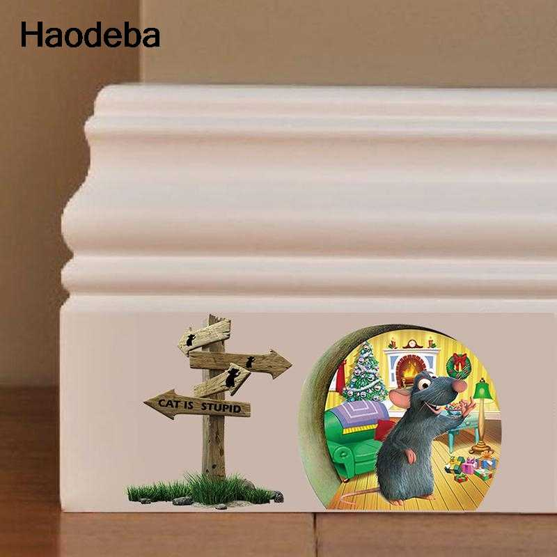 Haodeba 3d Funny Mouse hole Cat is Stupid wall sticker for kids rooms Cartoon wall decals Christmas Decoration Home Decor