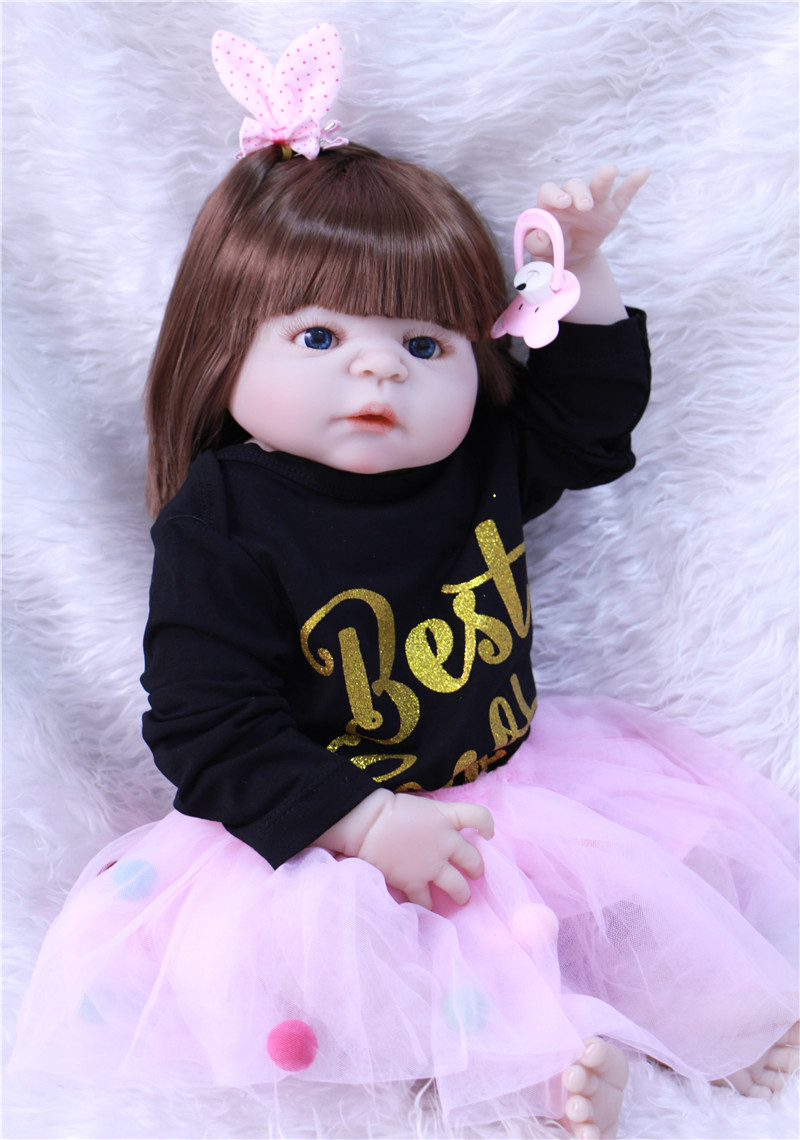Bebe Reborn girl Doll Boneca 55cm Full Body Silicone Dolls Baby Hand-implanted hair babies toys for girl play house toy gift 53cm full body silicone reborn dolls lifelike newborn babies girl dolls high end reborn dolls bebe gift children toys boneca