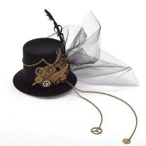 Image 2 - Donne Steampunk Top Cappello Nero Mini Clip di Capelli Accessori Per Capelli