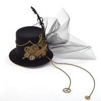 Mulheres Steampunk Fascinator Mini Top Hat Grampo de Cabelo Do Punk Gótico Asas Da Engrenagem Relógio Borboleta Decoração Headwear Acessórios Para o Cabelo