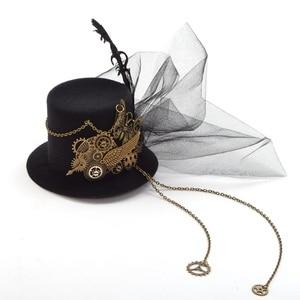 Image 2 - Vrouwen Steampunk Top Hoed Zwart Mini Haar Clip Haar Accessoires