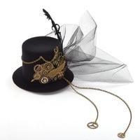 1pc Steampunk Gears Wings Clock Butterfly Hat Lace Hair Clip Punk Gothic Headwear