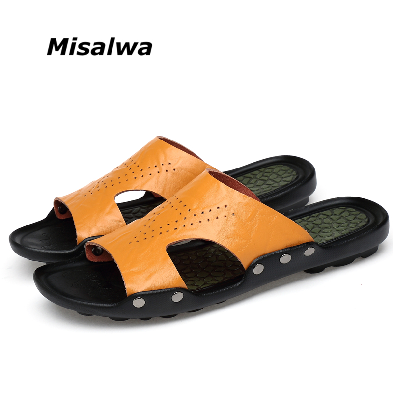 ebe139121a071 Detail Feedback Questions about Misalwa Big Large Size Men Sliper Summer  Daily Beach Outside Indoor White Bath Leather Sipper Massage Antiskid Shoes  on ...
