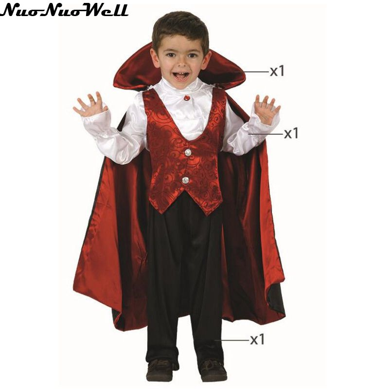Halloween Children Magician Costume Boy's Vampire Movies Costumes with Cloak Cinderella Cosplay Costume Princes Outfit for Child