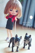 1PCS Cute Dollhouse Miniature Bulldog Dog Model for 1/6 Blyth, Barbies, Pullip Doll Accessories(China)
