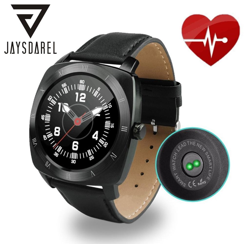 Jaysdarel DM88 сердечного ритма Мониторы Смарт-часы кожаный ремешок голос Управление удаленного Камера Шагомер Bluetooth SmartWatch телефон