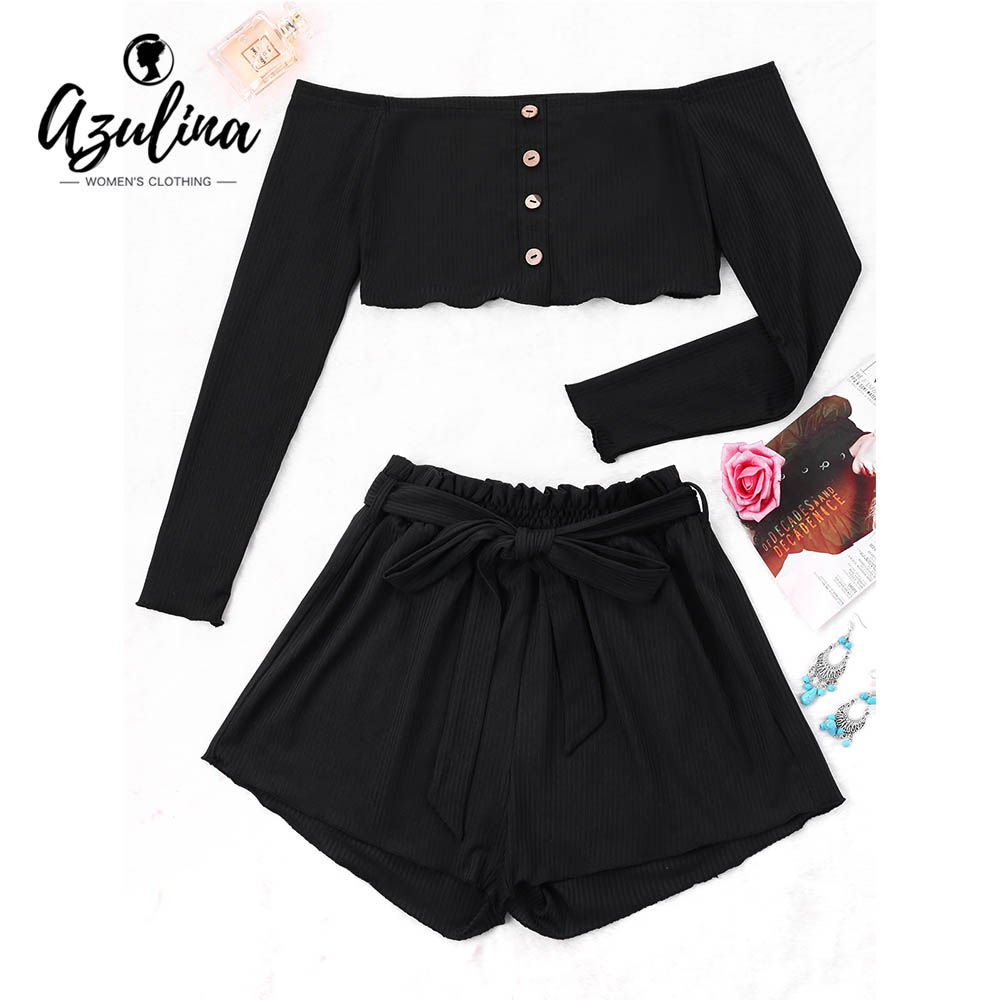 AZULINA Ribbed Buttons Crop Top Wide Leg Shorts Summer Sexy Off Shoulder Long Sleeve Cropped Top Mid Waist Shorts Girls Tops