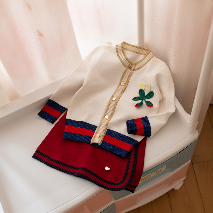 Toddler Girls Clothes 2018 Autumn Brand Fashion Style White Sweater Tops+Red Skirt For Kids Children Clothing Sets2 3 4 5 6Year купить в Москве 2019