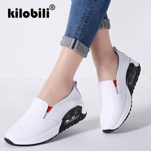 5ecc25d5fbe kilobili 2018 Spring Women Flat Sneakers Shoes Slip On Genuine Leather  Casual Ladies Platform Shoes Women Summer Footwears Shoes