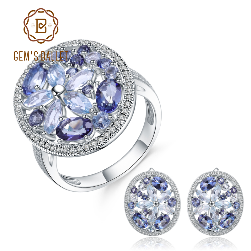 GEM S BALLET Natural Sky Blue Topaz Mystic Quartz Ring Earrings 925 Sterling Silver Gemstone Vintage