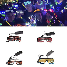 Double-colored Flashing Eyeglass Party Wire LED Light Glasses Halloween Fluorescent Luminous Glowing Glasses Party Decorations цена
