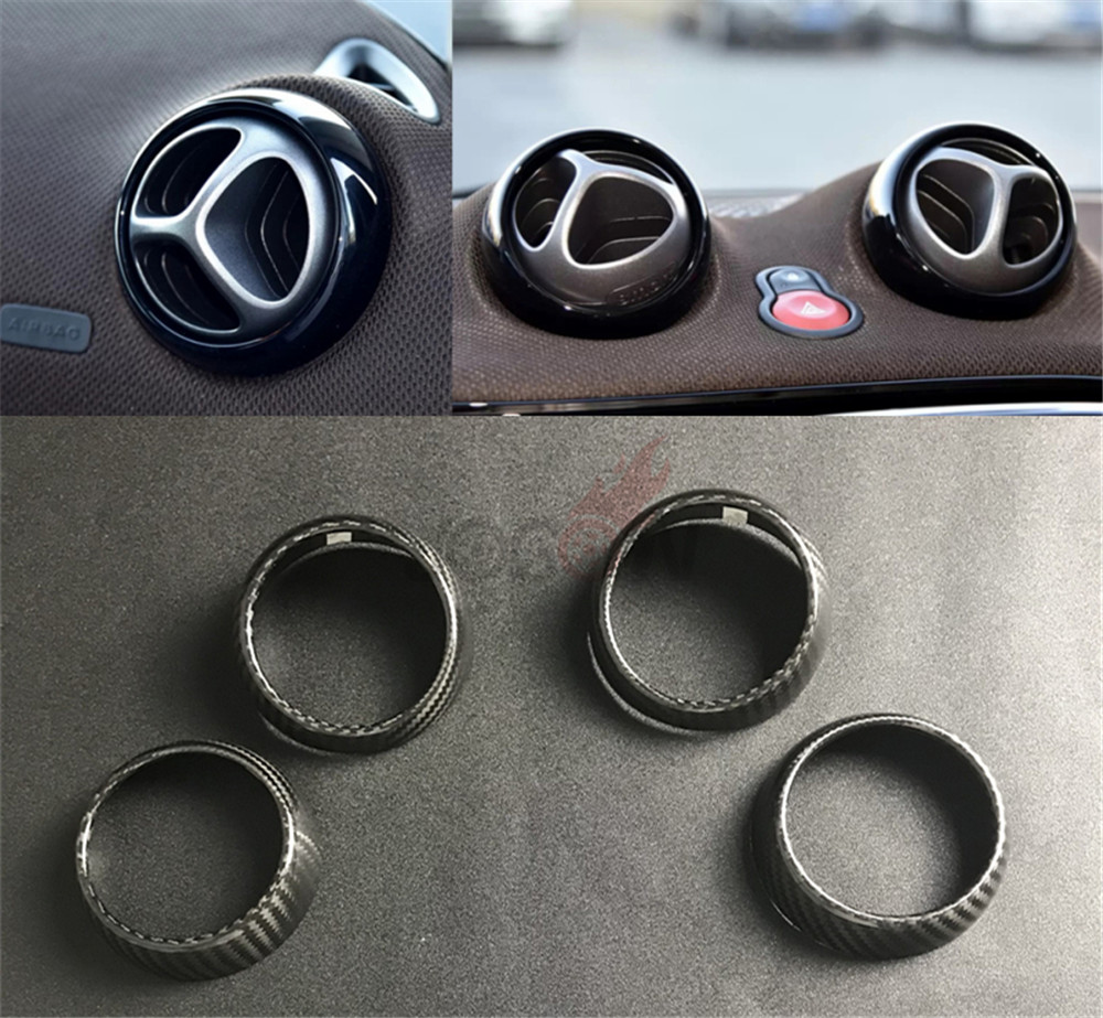 Accessories Real Carbon Fiber Air Condition Vent Outlet Ring Cover For Smart Fortwo Forfour W453 A453