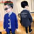Nueva Llegada de Los Bebés ropa de Abrigo Chaqueta de Cuello Con Cuello En V Botón de Un Solo Pecho Ropa de Los Niños Patrón de la Letra 4-9Y Niños Chicos Abrigo