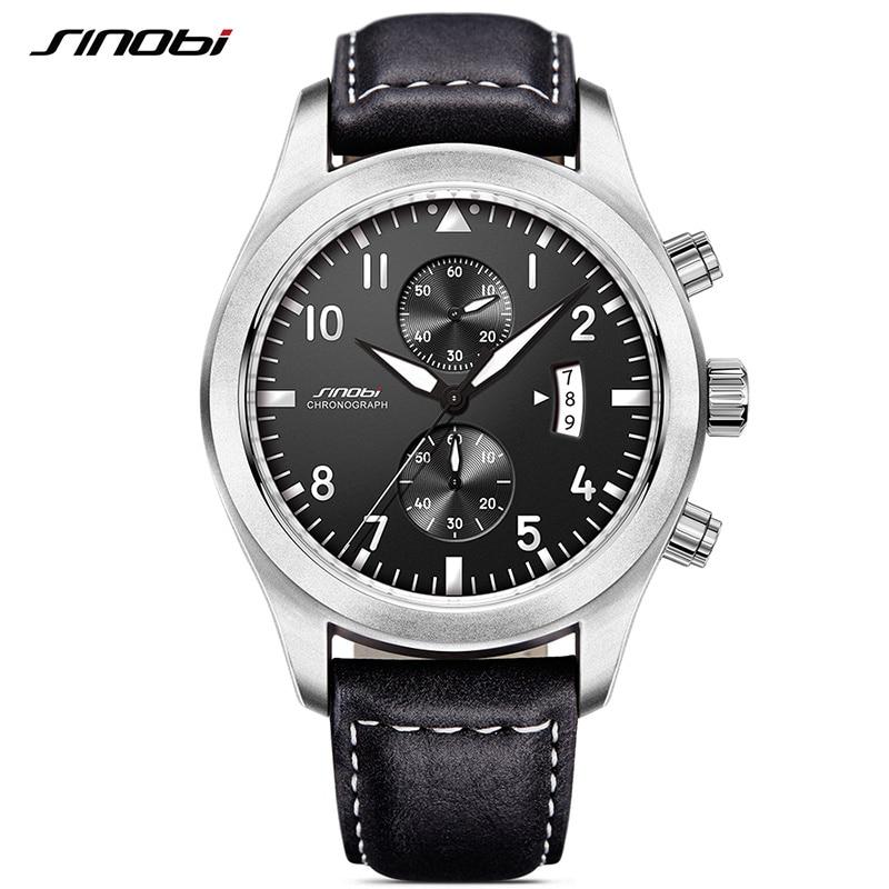 SINOBI Mens Military Chronograph Wrist Watches Luxury Date Leather Clock Male Sports Shock Geneva Quartz Wristwatches 2017 G09