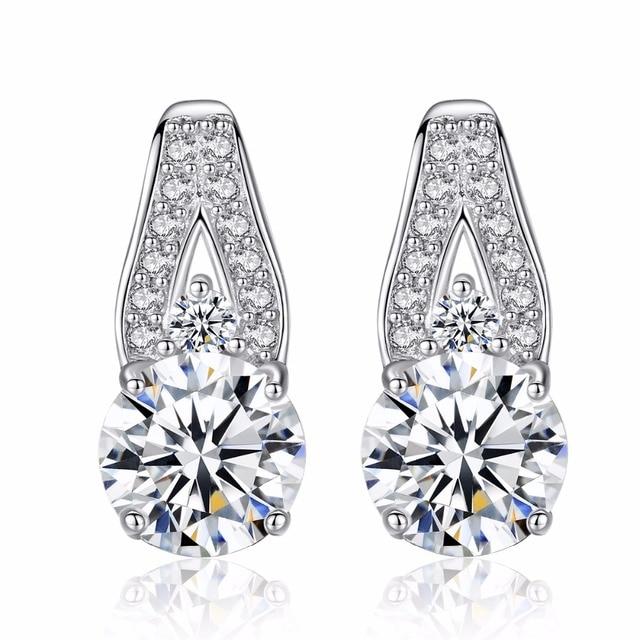 Fashion Elegant Zircon Vintage Stud Earrings Design S925 Sterling Silver Wedding