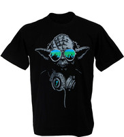 Yoda DJ Hip Hop Jedi Master Headphones Green Glasses Man Star Wars T Shirt 100 Cotton