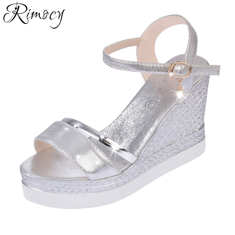 Rimocy woman fashion high heels sandals 2017 summer super wedges gold silver ladies platform shoes casual Feminino Chaussures woman fashion high heels sandals women genuine leather buckle summer shoes brand new wedges casual platform sandal gold silver
