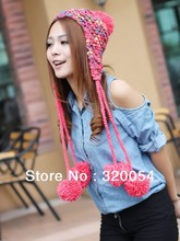 Free shipping,1pcs, 2013 fashion thick braids colorful  knitted cap ,Lovely women's autumn winter warm hat ,5 color,wholesale .