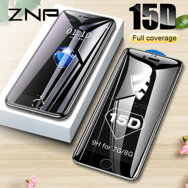ZNP 15D Curved Edge Protective Glass on the For iPhone 7 8 6 6S Plus Tempered Screen Protector For iPhone 8 7 6 Plus Glass Film