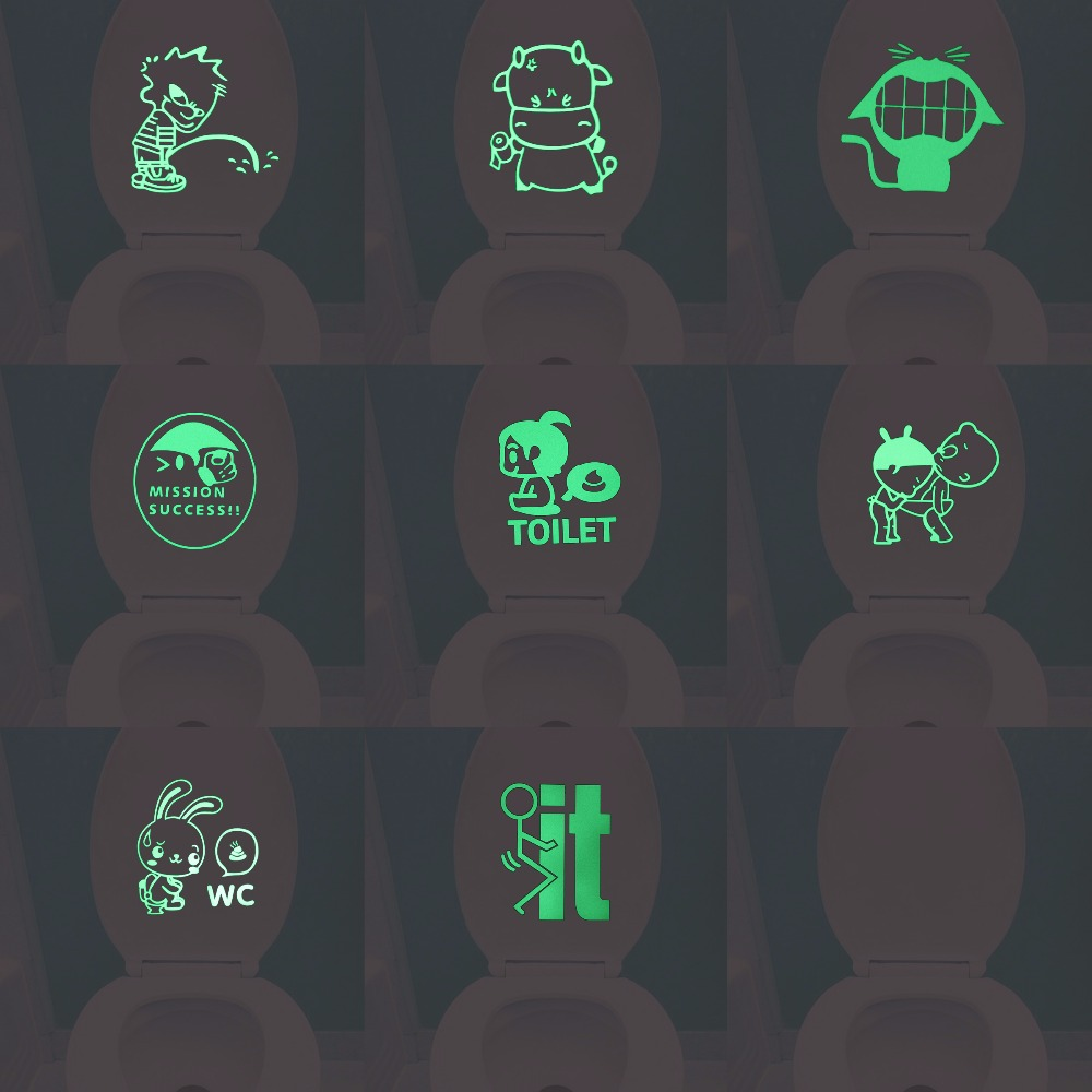 WC Decoration Luminous Cartoon Toilet Sticker Glow in the Dark Bathroom Wall Decor Sticker Funny DIY Personalized Home Decals
