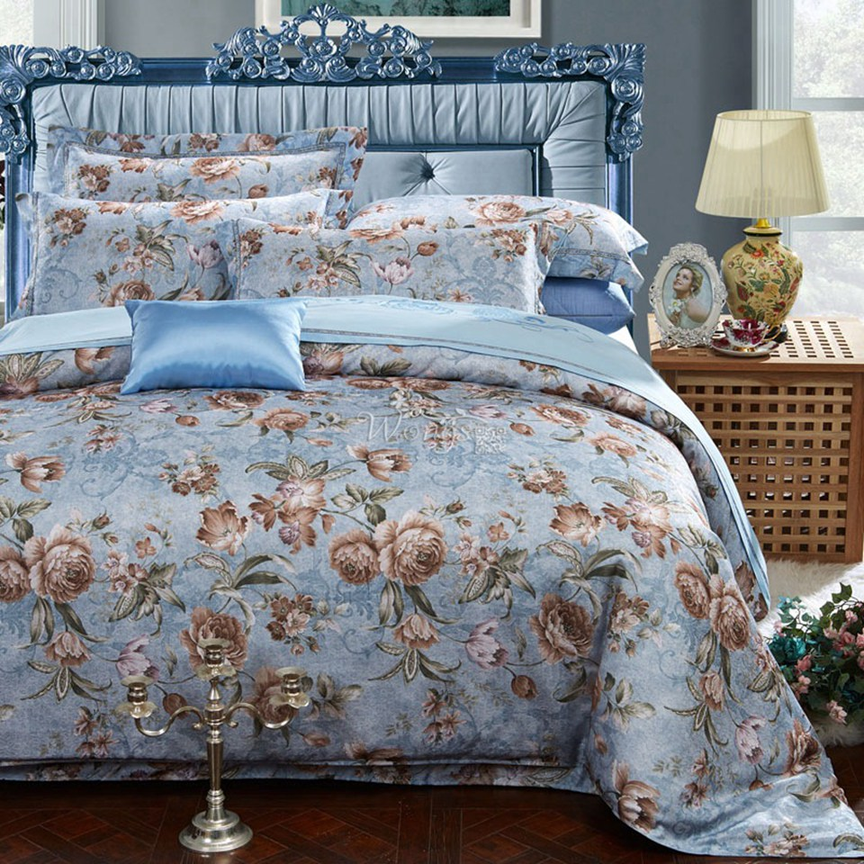 Bedding bed sets pure cotton 4pcs jacquard luxury bedding for Luxury cotton comforter sets