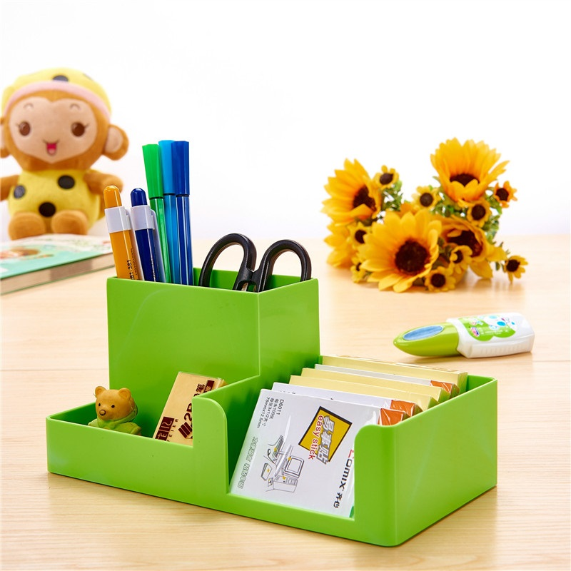 Creative Mini Multifunctional Colorful Square Plastic Pen Holder House Office Stationery Desk Holder Large Receive Case Candy