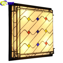 FUMAT Stained Glass Ceiling Lamps luminaria LED TiffanyLamp Living Room Lamp Ceiling Geometri Plafondlamp bedroom Ceiling Lights fumat stained glass pendant lamps european style baroque lights for living room bedroom creative art shade led pendant lamp