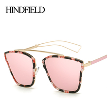 Hindfield de metal de gran tamaño gafas de sol de las mujeres diseñador de la marca 2017 de la vendimia de lujo cat ojo gafas de sol para mujer gafas de sol mujer