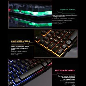 Image 3 - SUNROSE K201 USB Wired Gaming Keyboard 104 Keys 3 Color Backlight Splashproof Capacitive Feel Keyboard with Package for LOL Game