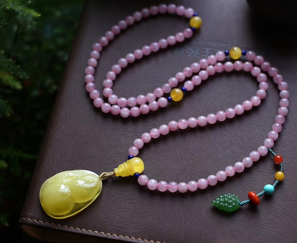 6.5mm Natural Rose Quartz Bracelet With Amber Pendant Gift Stretch Crystal Pink Madagascar 108 Round Beads Necklace Jewelry