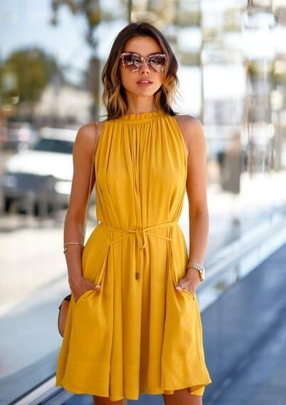 4ed5f8d3ee Newest Yellow Color One Piece Dress Fashion Sleeveless Party Dress With Belt  Ladies Casual Beach Dresses