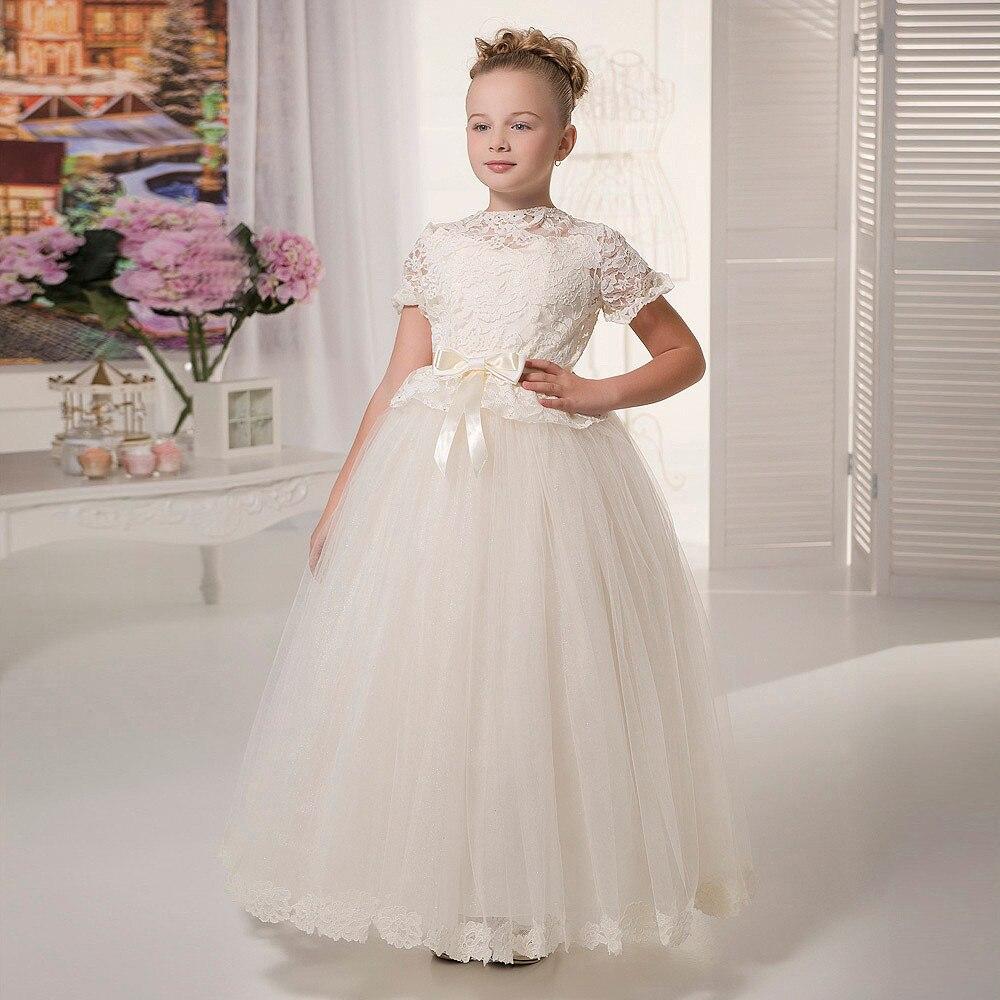 Beautiful Princess Flower Girl Dresses Lace Short Sleeves O-neck Formal Bow Belt Pageant Dresses for Girls Glitz Vestidos Longo
