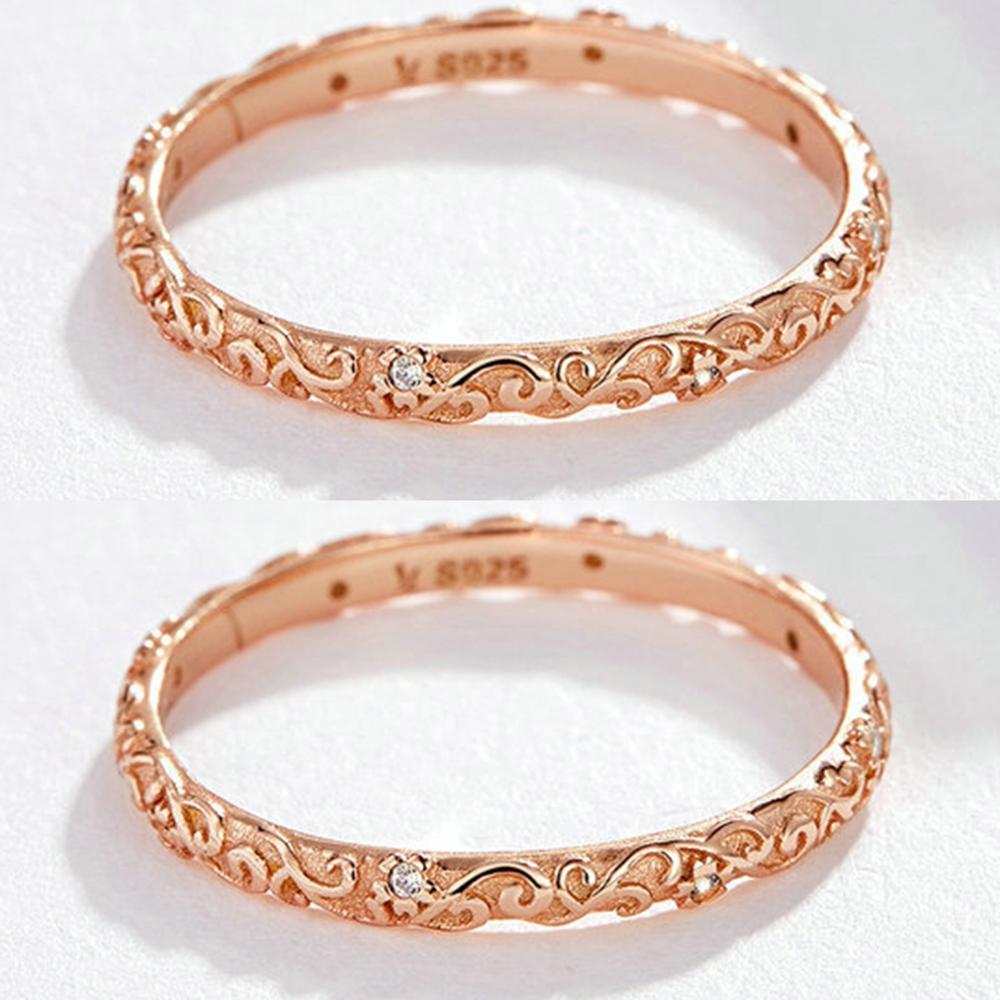 Rose Gold Color Twist Classical Cubic Zirconia Wedding Ring for Woman Girls 925 Sterling Silver Crystals Gift Rings in Rings from Jewelry Accessories