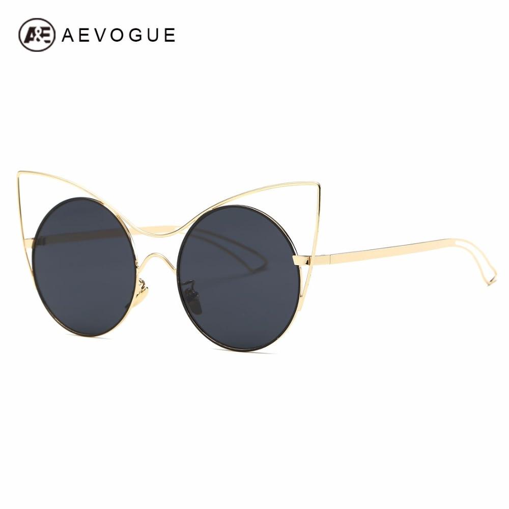d098603ede9ae Aevogue óculos de sol das mulheres marca designer cat eye liga ae0490 lente  moldura redonda do vintage estrela óculos de sol com caixa